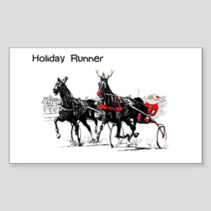 Santa Racing Rectangle Sticker